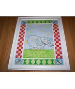 Zoo Safari Elephant Matted Framed Print by Tania Schuppert Nursery Pictu... - $32.00