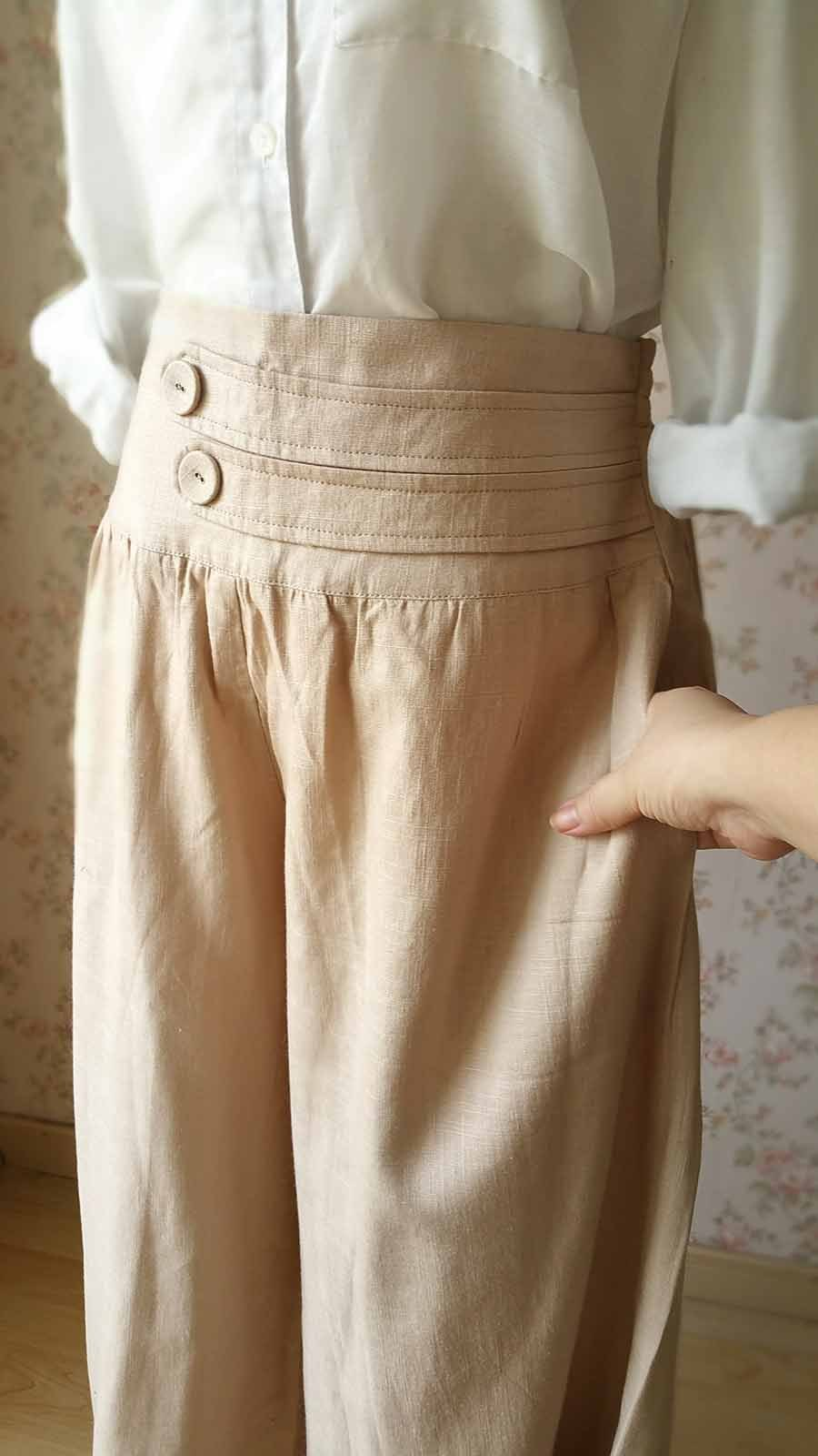Khaki High Waisted Plus Size Linen Wide Leg Pants Women Crop Palazzo Pants NWT