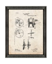Fishing Reel Patent Print Old Look with Black Wood Frame - $24.95+