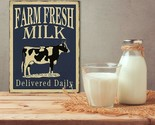 "Tin Metal Sign Shabby Chic Farmhouse Decor 13"" x 10"" Cow Farm Fresh Milk Rustic"