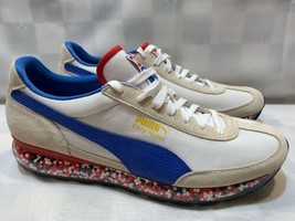 PUMA Easy Rider Men's Shoes Size 11.5 White Blue Red 36783204 NEW - $69.29