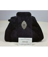 Judith Jack Black Suede Handbag Bucket Bag Shoulder Bag Amethyst and Marcasite - $264.99