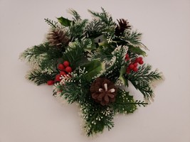 """9"""" Snowy Pine Candle Ring Decorative Wreath for 3"""" Dia Candle - $10.88"""