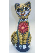 "Hand-painted Ceramic Clay Pottery 7"" Tall Kitty Cat Colorful Figurine K8 - $14.84"