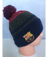 FC Barcelona Football Club Knit Cuff Beanie Hat Pom Pom Cuffed FCB Logo ... - $14.24