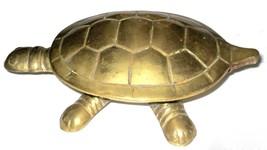 Vintage Tortoise Turtle Figurine Hinged Brass Trinket Box Miniature Statuette image 2