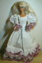 Mattel Barbie Doll Twist N' Turn in white long gown and pink shoes - $11.88