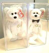Ty Beanie Baby 2001 Mr & Mrs Bear Bride & Groom Wedding Teddy Set of 2 MINT - $18.76