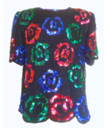 80s Laurence Kazar 100% Silk Beaded Sequinned Black Red Blue Green Xmas ... - $44.00
