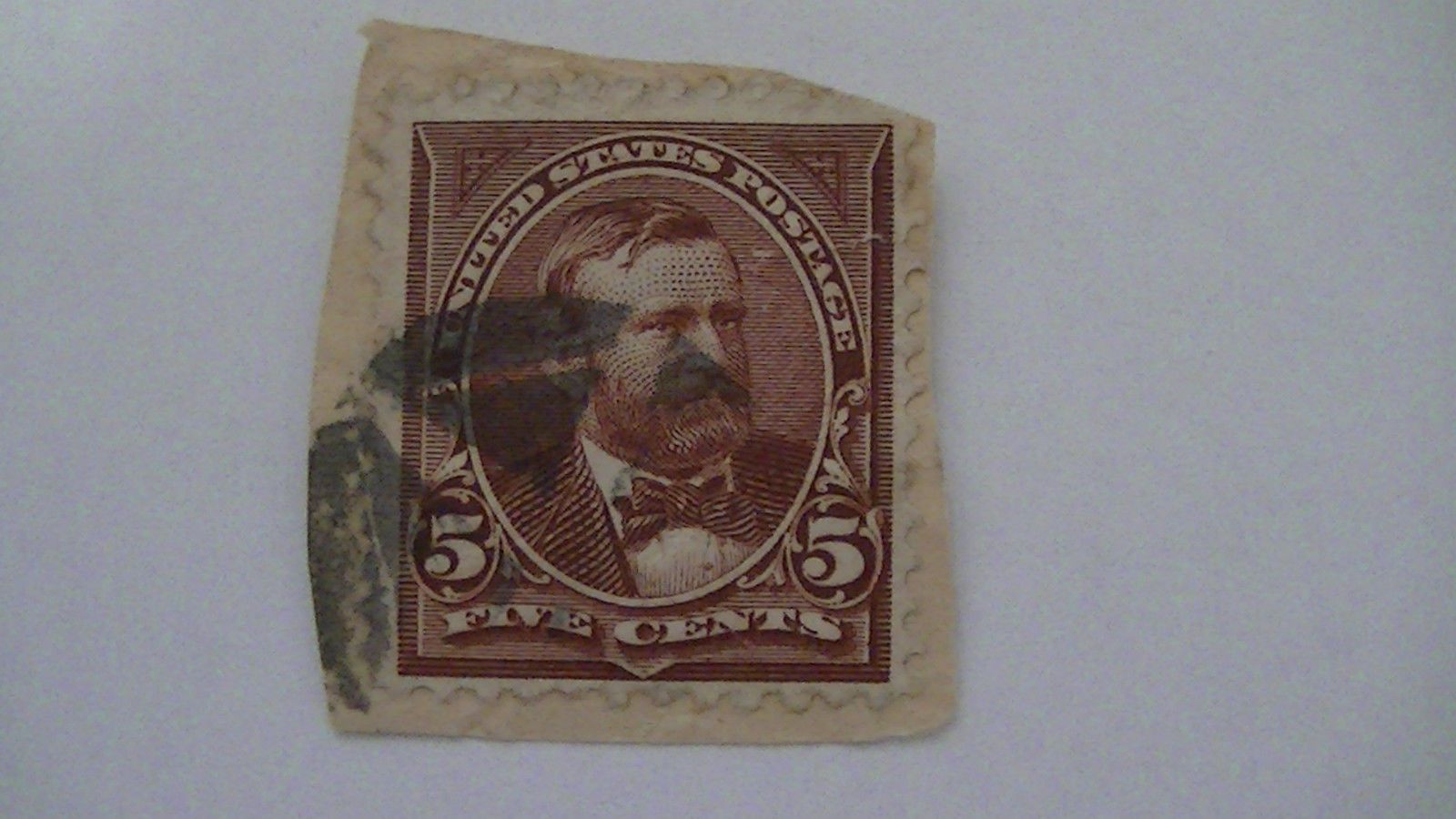 Chocolate Brown Vintage USA Used 5 Cent Stamp
