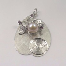14k White Gold Vintage Disc Mother Pendant With A Pearl & February Birth... - $391.77