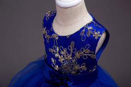New Arrival Gold Lace Flower Girls Dress Ball Gowns Wedding Girl Gowns Pageant  image 8