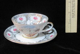 Miniature Demitasse Cup & Saucer Innsbruck Picture Town Pink Rose Vintag... - $12.86
