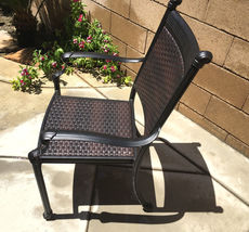 7 Piece Outdoor Wicker Patio Dining Chair Set Propane Fire Pit Table Aluminum image 3