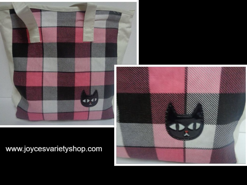 Kitty Cat Tote Book Bag NIP Canvas Pink & Black Checkered Black Cat