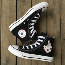 Unisex Black Converse Shoes Design Floriculture Bird High Top Canvas Sne... - $119.00
