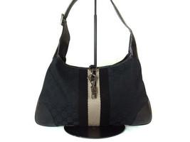 Authentic GUCCI GG Pattern Canvas, Leather Black Shoulder Bag GS10226L - $139.00