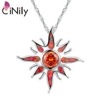 Ire opal stone large dangle pendants silver plated solar orange garnet sun charm luxury thumb200