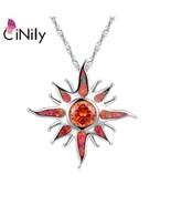 Starburst Fire Opal Stone Large Dangle Pendants Silver Plated Solar Oran... - $14.88