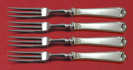 """George II Rex Hand Chased by Watson Sterling Silver Fruit Fork Set 4pc Custom 6"""" - $319.00"""