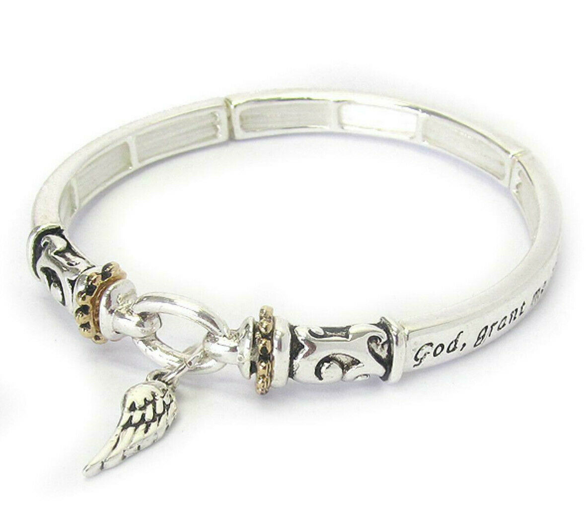 Primary image for Angel Wing Serenity Prayer Inspirational Religious Bangle Bracelet Silver NEW