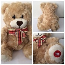 "M&M Mars Teddy Bear With Bow Plush Sitting 9"" Stuffed Ad M&M Promo NWOT - $12.86"