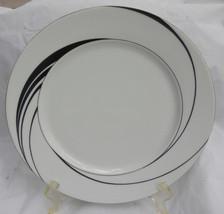 4 BLOCK SPAL BREAD DESSERT PLATES WHITE PEARL JEWELS BLACK SWIRLS CHINA - $22.71