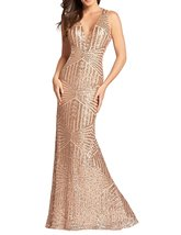 Womens 2018 Sequin Mermaid Long Evening Dresses Empire Waist V Neck Prom... - $112.41
