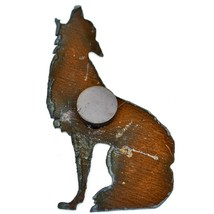 Rustic Rusted Patina Iron Metal Cutout Howling Wolf Coyote Refrigerator Magnet image 2