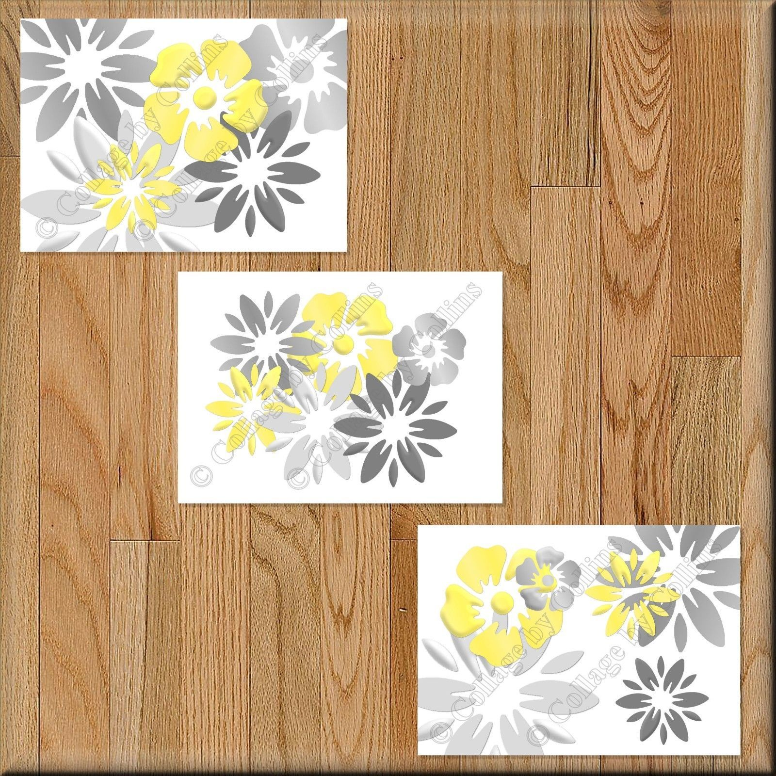 Primary image for Yellow Gray Wall Art Picture Print Floral Bathroom Bedroom Decor Kitchen Nursery