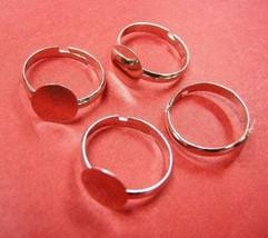 6pc platinum look adjustable ring shanks-4838 - $1.50