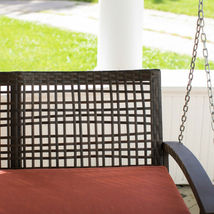 Porch Swing Patio Wicker Hanging Seat Chair Loveseat Outdoor Cushion Home Resin image 3