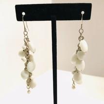 White Glass Beads Chandelier Dangle Drop Chain Silvertone Hook Earrings ... - $10.44
