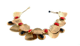 Karry O Beautiful Adoration Necklace broken chain Multi Layers Gold Red ... - $1,292.06