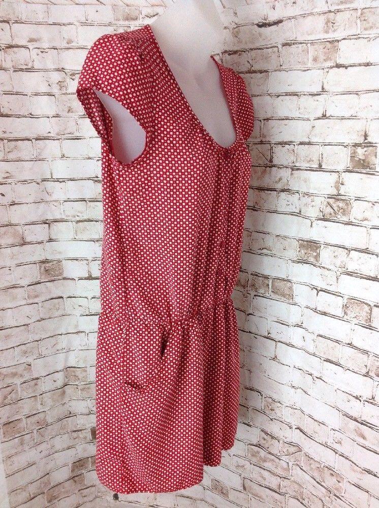 Gap Red & White Button Down Shirt Mini Dress Size S w Pockets Stars Rayon