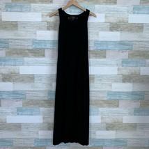 Soma Lounge Maxi Dress Black Shelf Bra Soft Stretchy Jersey Knit Womens XS - $19.79
