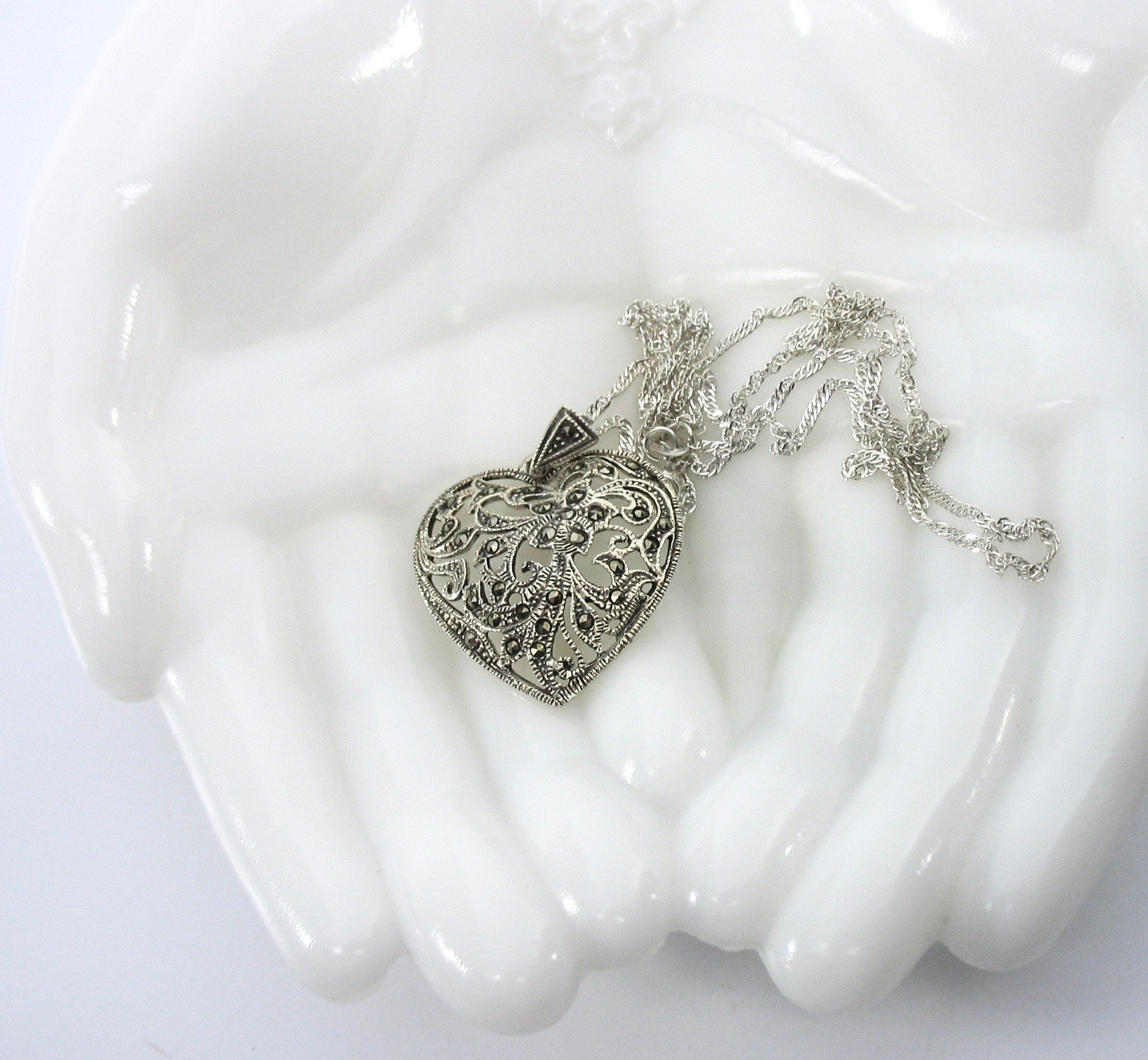 Sterling Marcasite Heart Necklace, Heart Pendant, Silver Filigree, signed 925, T
