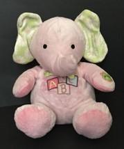 Carter's ABC Singing Elephant Lovey Plush Stuffed Animal Crinkle Ears Sensory - $13.85