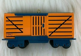 Hallmark Cards Christmas Ornament Metal Train Box Car Doors Open Rolls 1... - $24.70