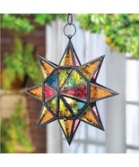 Multi Faceted Star 13in Hanging Pendant Lamp Lantern Candle Holder - $21.63