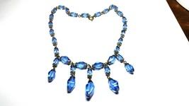 Art Deco Blue Glass Dangles Vintage Necklace 15 inch - $39.60