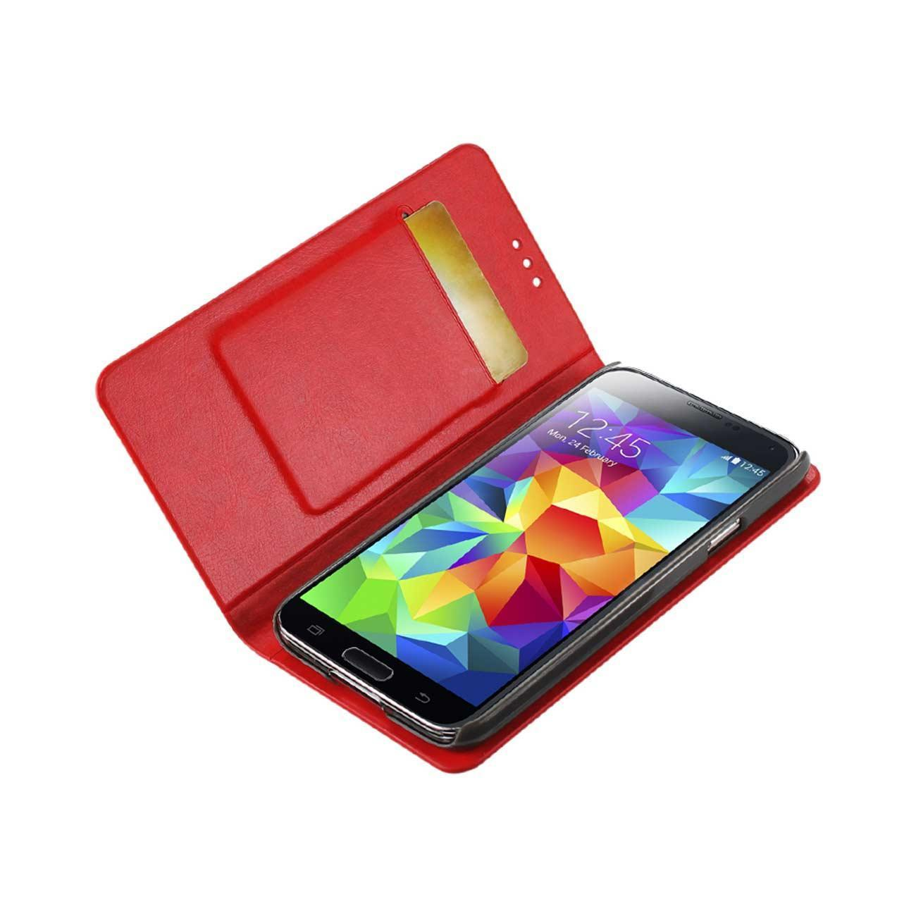 Reiko Samsung Galaxy S5 Flip Folio Case With Card Holder In Red