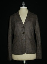 Vince Menswear Style Fitted 3-Button Brown Wool Plaid Blazer Jacket Lined 6 - $32.00
