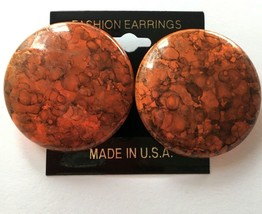 Vintage Big Round Orange Paint Splatter Earrings NOS Statement Art to We... - $7.39