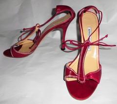 MANOLO BLAHNIK Pumps Red Leather Sz 39/8.5 Open Toe Stiletto High Heel S... - $74.24