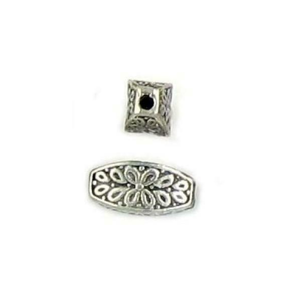 FLORAL DESIGN TUBE FINE PEWTER BEAD - 11.5mm x 5.5mm x 4.5mm 1mm Hole
