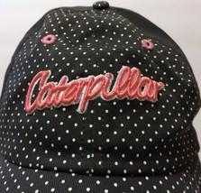 Caterpillar Grey White Polka Dot Pink Logo Strap Hat Cap Tractor Constru... - $33.65