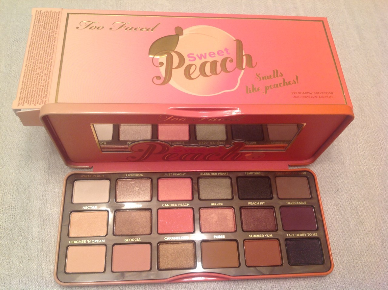 Primary image for 100% AUTHENTIC TOO FACED SWEET PEACH EYE SHADOW PALETTE, FULL SIZE 18 COLORS