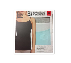 Felina Ladies' Cotton Stretch (3-pack) Camisole, Grey/Teal/White, Medium - $19.79