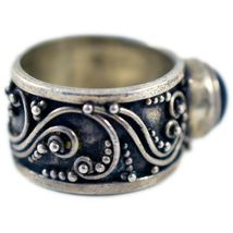 925 Sterling Silver Filigree Design Cabochon Onyx Thick Chunky Band Ring 5.75 image 4